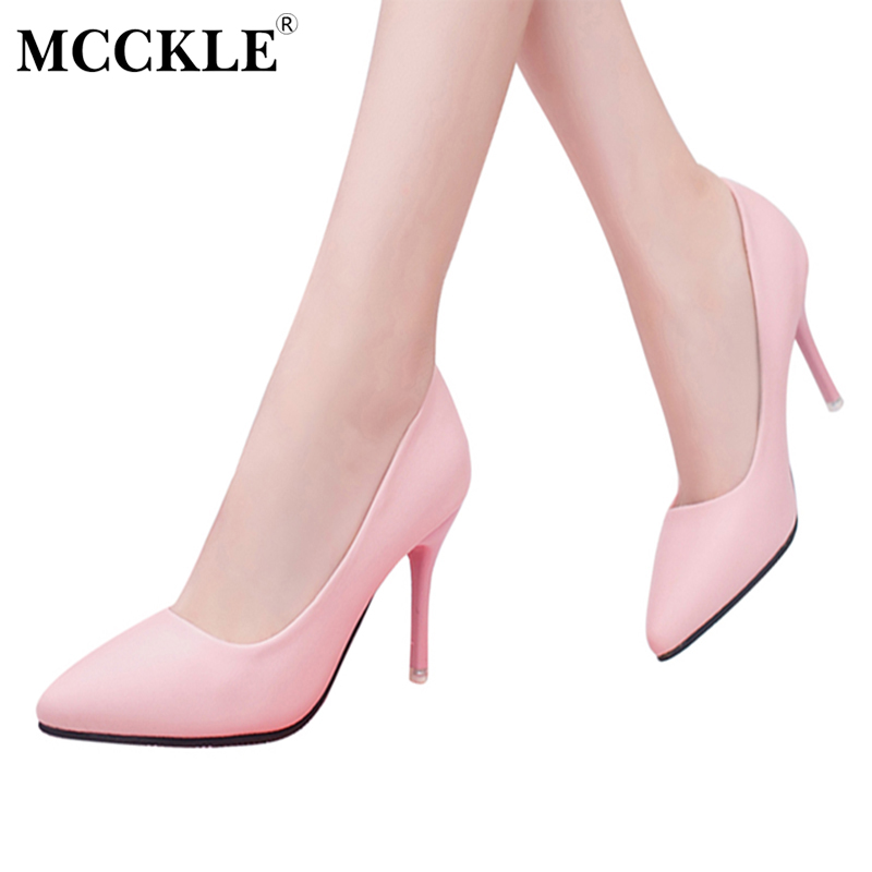 MCCKLE Women's Pointed Toe Fashion Sexy High Heels Ladies Shallow Slip On Office Dress Pumps Female Shoes Plus Size 34-42 women high heels plus size 32 42 sexy office pointed toe wedges shoes slip on women pumps fashion mixed color ladies shoes