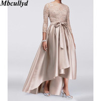 Mbcullyd Plus Size Mother Dresses Lace Applique Sequins 3/4 Long Sleeves Satin High Low Sashes Mother Of The Bride Dress Cheap