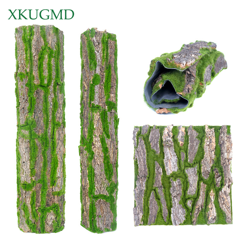 Real Dried Pine Tree Bark With Artificial Moss For Indoor Water Pipe Pillar Cover Wrap Fake Plant Vine Flowers DIY Decoration
