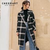 Cheerart Winter Long Wool Coat Women Plaid Coat Plus Size Tweed Big Lapel Coat Vintage Knee Length Woolen Outerwear Coat
