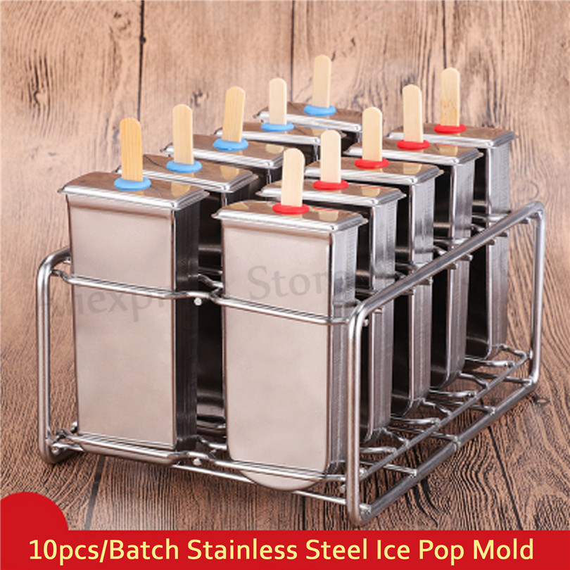 10pcs/Batch DIY Stainless Steel Ice Cream Popsicle Mold Summer Ice Pops Maker Moulds Stick Holders More Options frozen stainless steel popsicle molds 10pcs batch stick holder silver home diy round flat ice cream moulds
