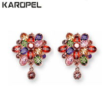 Luxury Colorful Zircon Crystal Flower Stud Earrings For Women New Fashion Elegant Gold/Silver Color