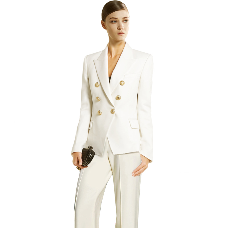 White Pants Suit Women Winter Suits Zipper Office Two Piece Set Jacket+ High Waist Wide Leg Pants Set Blazer Sets