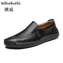 Genuine Leather Men Casual Shoes Luxury Brand 2019 Mens Loafers Moccasins Breathable Slip on Black Driving Shoes Plus Size 38-48 стоимость