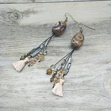 Youga Fashion Vintage Handmade Earrings Tibetan Beads and Crystal Natural Stone Tassels Custom Bohemian Jewelry for Women