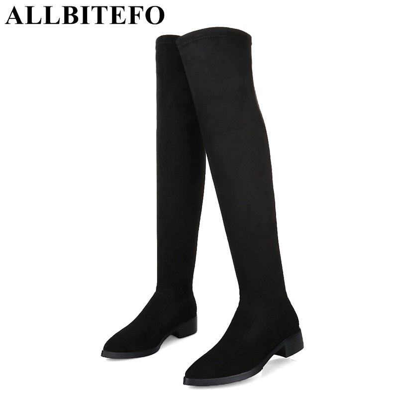 ALLBITEFO plush size:33-42 genuine leather Stretch material pointed toe over the knee boots thick heel women boots girls boots