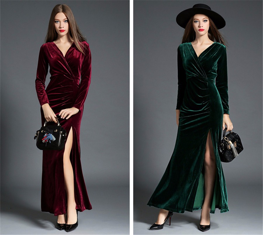 17 Autumn Winter Evening Party Dresses Red Velvet Dress Women Sexy High Split Long Maxi Dresses Christmas Runway Vestido Longo 11