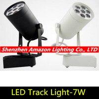 1 pçs 7 w conduziu a luz da trilha ac110v 220 v alumínio branco e preto escudo ferroviário teto iluminação spotlight