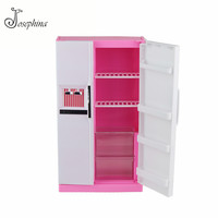 Jimusuhutu Plastic Refrigerator Kitchen Furniture Set for Barbie Doll House Classic Toys for Kids Educational Pretend Play Toy
