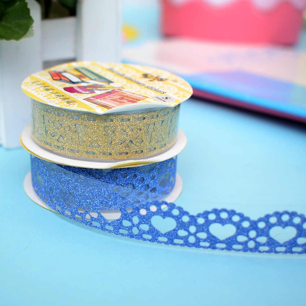 1 piezas 1 m Kawaii Glitter mate cinta de encaje decoración de libros Washi cinta de Scrapbooking tarjeta adhesiva de papel DIY artesanía regalo