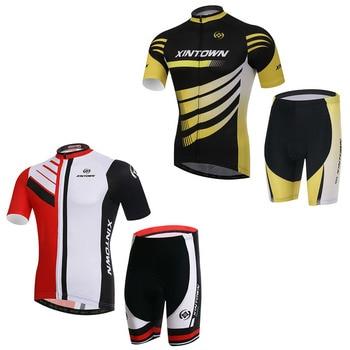 XINTOWN Мужская велосипедная одежда для велоспорта Ropa Ciclismo с коротким рукавом Спортивная Джерси быстросохнущие (нагрудник) шорты 2 цвета