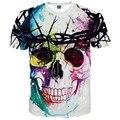 2017 Nueva Marca de Moda Camiseta de Hip Hop de Impresión 3d Cráneos Harajuku Animación 3d camiseta Del Verano Camisetas Frescas Tapas Marca clothing