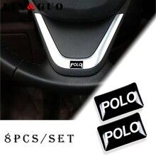 8 Uds. Volante de pegatinas para coche, calcomanía de rueda con emblema pequeño 3D, apta para Volkswagen, POLO, CADDY, GOLF, Scirocco, CC