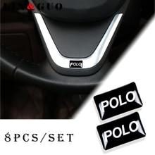 8 stücke Auto styling lenkrad 3D kleine Emblem Aufkleber Rad Aufkleber Fit für Volkswagen POLO CADDY GOLF Scirocco CC auto Aufkleber