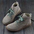 Обувь Женщина Ботильоны Из Нубука Кожаные Сапоги женские Круглый носок зашнуровать с/без меха Сапоги (h189)
