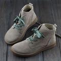 Zapatos de Mujer Botines de Cuero Nobuck Botas de punta Redonda de Las Mujeres atan para arriba con/sin Botas de piel (h189)