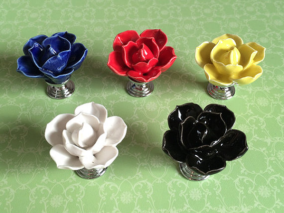 Flower Knob Dresser Knobs Drawer Knob Kitchen Cabinet Knobs Pull Handle Ceramic Rose Lotus Black Blue Yellow White Red