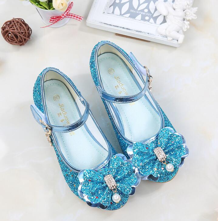 Princess Shoes for Girls Sandals Heel Glitter Shiny Rhinestone Party Dress Shoes