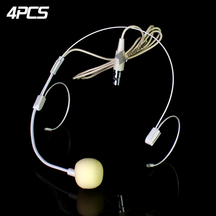 4 Unids Beige Mini XLR 3 Pin TA3F Headworn Micrófono Micrófono de - Audio y video portátil