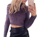 Women cropped mohair sweater warm thick turtleneck knitted sweater and pullovers Winter long sleeve knitwear tops WN359