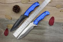 Columbia blue/black handle high hardness straight knife outdoor survival knives tactical knife camping fixed knife