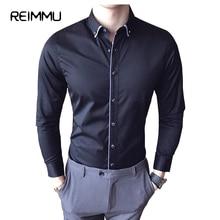 Reimmu социальных рубашка мужчин большой размер мужской одежды Slim Fit Повседневная рубашка модная брендовая одежда мужская рубашка Camisa социальной masculina