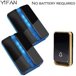 YIFAN New Wireless Doorbell NO battery Waterproof EU Plug led <font><b>light</b></font> 150M <font><b>long</b></font> range smart Door Bell 1 2 button 1 2 receiver