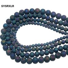 Wholesale Natural Stone Electroplated Colorful Volcanic Lava Round Loose Beads for Jewelry Making DIY Bracelet 6 8 10 12 MM