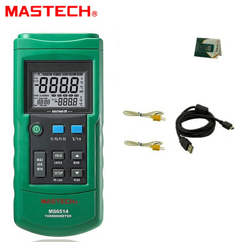 MASTECH MS6514 Dual Channel Digital Thermometer Temperature Logger Tester USB Interface 1000 Sets Data KJTERSN Thermocoupl ms6514 dual channel digital thermometer temperature logger tester usb interface 1000 sets data kjtersn thermocouple with box