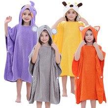 Детский мультяшный пончо, полотенце, пляжный плащ, полотенце, хлопковые банные халаты для детей, Солнцезащитный купальный костюм, банный халат для мальчиков и девочек