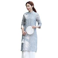 2017 Autumn Chinese Traditional Evening Gown China Wedding Qipao Open Fork Korean Long Sexy Cheongsam Dress