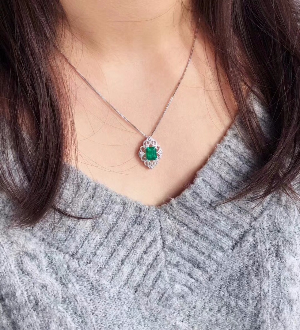 Fine Jewelry AIGS Certificate Real 18K White Gold AU750 Natural Green Emerald 1 67ct Gemstones Pendants for Women Fine Necklace in Pendants from Jewelry Accessories