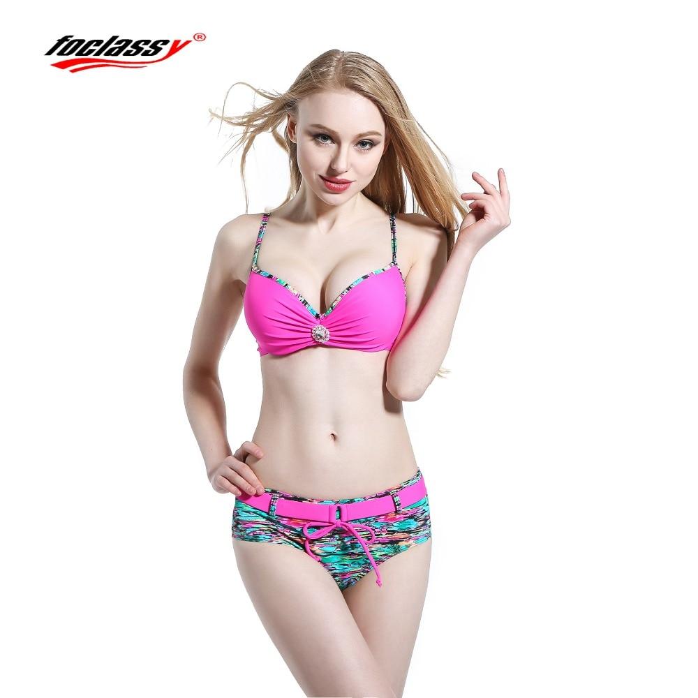 Foclassy Swimsuit Swimwear 2017 Bikini Plus Size Pink Womens swimming Bandeau Bather Bathingsuit Beach Wear maillot De bain