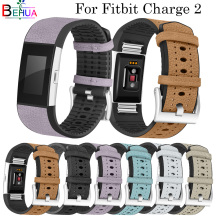 Leather sport Breathable Straps For Fitbit Charge 2 smart watch Replacement Luxury Fashion Band Bracelet Watch Strap