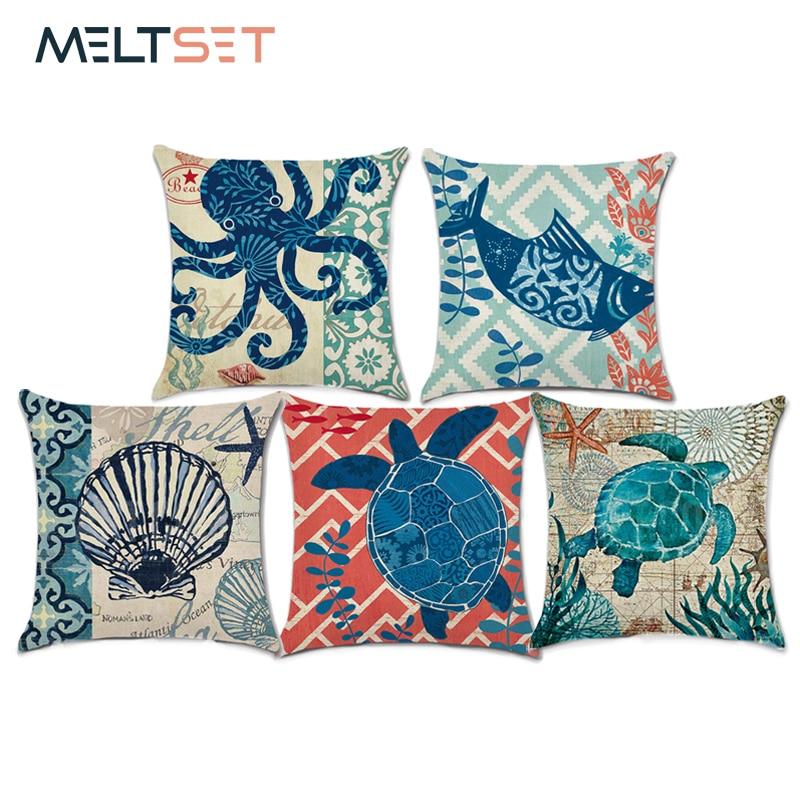 Marine Sea Turtle Pillow Cushion Cover Cotton Linen Sea Horse Throw Pillow Cover Octopus Sofa Cushion Home Decor 18*18