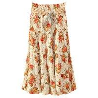 Women's Bohemian Skirt High Waist Skirt Summer Casual Beach Maxi Long Floral Fashion Garden Outdoor Picnic New 2019 Soft
