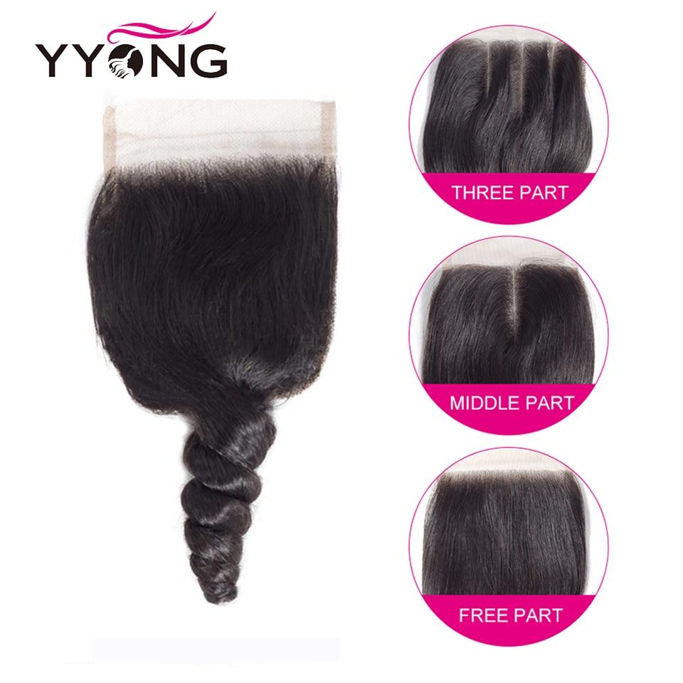 YYong Hair Loose Wave Bundles With Closure   4*4 Lace Closure With Bundles Natural Color  Hair 4 Pcs/Lot 6
