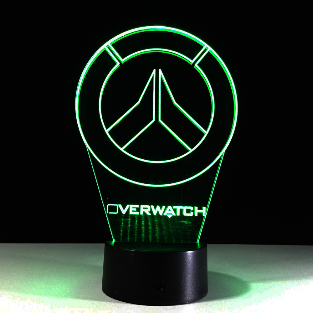 New Overwatch OW 3D Lamp LED Acrylic Novelty Night Light USB Desktop Decorative Table Lamp Interesting Children Gifts GX773 star wars millennium falcon 3d lamp led remote control night light usb decorative table lamp interesting gift hui yuan brand