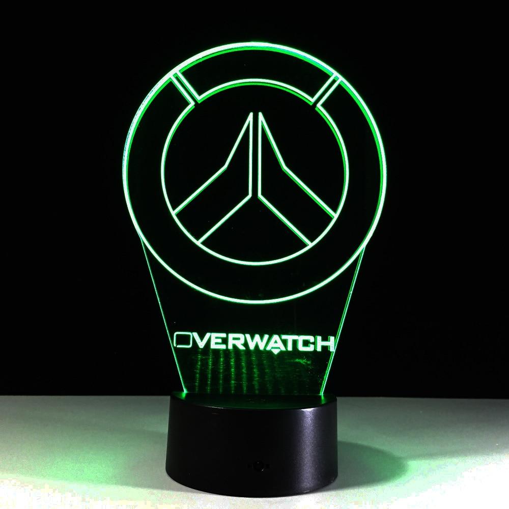 New Overwatch OW 3D Lamp LED Acrylic Novelty Night Light USB Desktop Decorative Table Lamp Interesting Children Gifts GX773