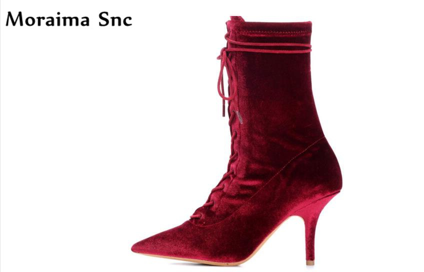 Moraima Snc vintage velvet 2018 hot selling lace-up pointed toe graceful women sexy catwalk high heel Gladiator boots moraima snc chic women winter platform pointed toe mid calf boots solid black lace up fringe vintage suede high heel