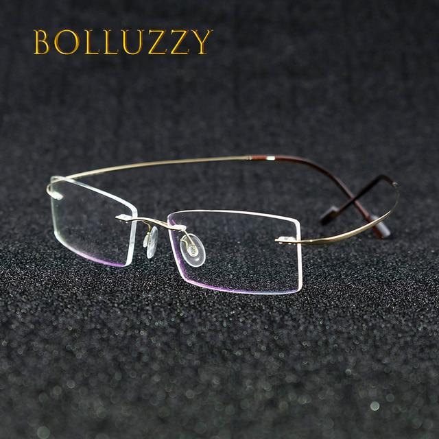 7c1409877c5b72 Lunettes sans monture titane oculos de sol en verre optique hommes femmes  1618 prescription spectacle de
