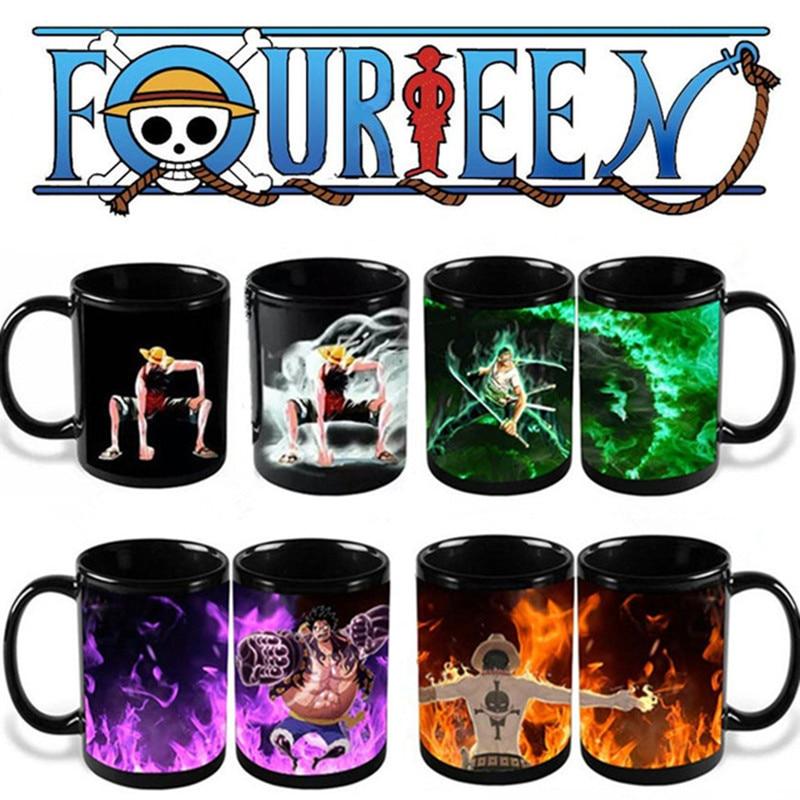 Anime Coffee Mug One Piece Color Change <font><b>Cup</b></font> Funny Printed Tea Milk Magic Ceramic Drinkware Luffy Zoro <font><b>Ace</b></font>