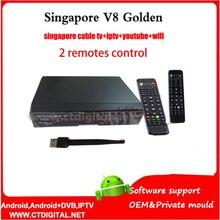 V9 pro singapour mise à niveau de V8 Or singapour 2 télécommandes WIFI + Singapour câble tv récepteur DVB-T2 et DVB-C v9 pro star chaînes