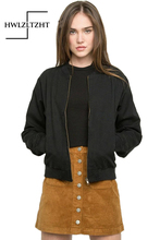 Women Spring Bomber Jacket Boy Friend Aviator Jacket Coat Fashion Army Green Black Women Slim Long Sleeve Basic Coats Outerwear