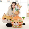New 45cm 1pc Cute yellow Dog plush toys Shiba Inu cloth doll winter hand warm soft pillow Cushion birthday gift kids baby girl