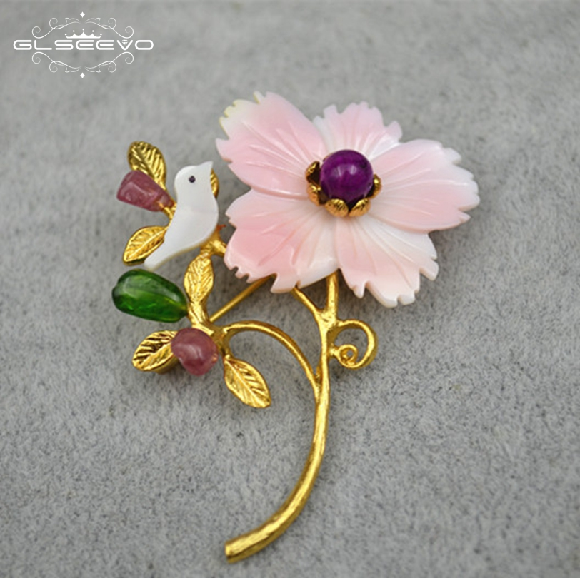 GLSEEVO Natural Mother Of Pearl Flower Bird Tourmaline Brooch For Women Pins And Brooches Dual Use Luxury Fine Jewellery GO0127