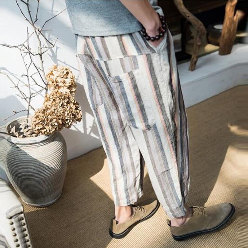 Summer Men Wide Legs Pants Baggy Loose Stripe Drop Crotch Cropped Pants Harem Trousers HipHop Joggers Plus Size 5XL Casual Male