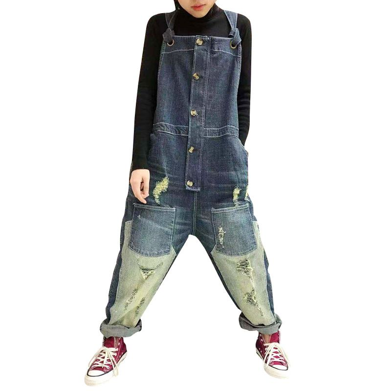 Baggy ripped hole suspenders jumpsuits Women Large size Drop Crotch jean Rompers Wide Leg Bib Denim