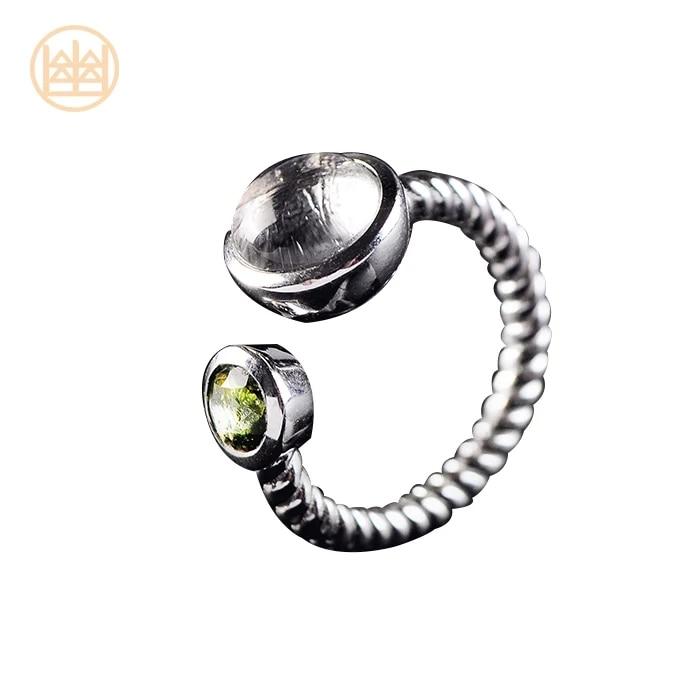 Naturel 10mm Gibeon fer météorite femmes hommes anneau 6mm Moldvite bijoux argent rond taille réglable anneau AAAA