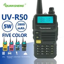 Quansheng UV R50 walkie talkie uhf vhf banda dupla 5w rádio bidirecional 2800mah longa espera portátil rádio Uv 5r hf transceptor uv 5r
